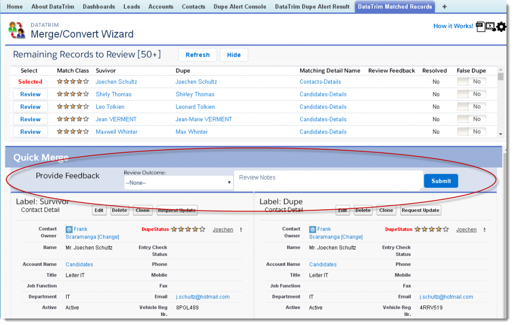 review wizard account review